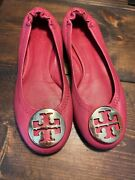 Reva Flats Size 10 Girls In Fuchsia Pink With Gold Hardware