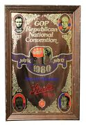 Vintage 1980 Strohand039s Beer Republican Convention 14x20 Framed Mirror Bar Sign