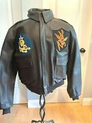 1940 Flying Tigers A2 Leather Fight Jacket Custom Hand Painted Patches.size 42