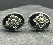 Vintage 925 Sterling Silver Post Earrings Onyx Oval Marcasite Art Deco Style