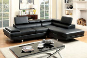 Black Bonded Leather Sectional Sofa Set Living Room Furniture 2pc Tufted Couch