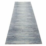 2and0396x10and0392 Blue Hand Knotted Zero Pile Pure Wool Only Runner Rug G66879
