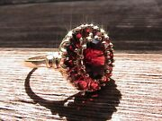 Vintage 10k Yellow Gold And 2.0 Tcw Natural Garnet Cluster Ring - Size 8 - 3.1g