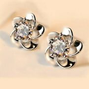 Solid 14k White Gold Moissanite Floral Stud Earrings 2 Ct Round Cut For Womenand039s