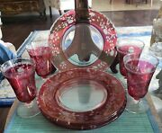 Antique Set Of 4 Ruby Cut To Clear Dessert Plates And Cordials