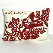 Pottery Barn Off-white Decor Pillow W/ Red Embroidered Bird Tree Cheer Scene-16andrdquo