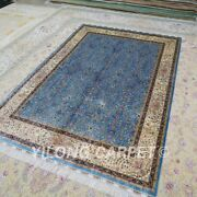 5and039x7and039 Blue Handknotted Living Room Silk Area Rugs Luxury Villa Carpet Ywx124a