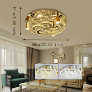 Ceiling Light Crystal Led Chandeliers Modern Golden Ceiling Fixtures+ Remote Usa