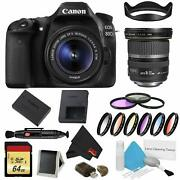 Canon Eos 80d Dslr Camera With 18-55mm Lens Bundle W/ 9 Piece Filter And Memory