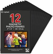 12 Pack 4x6 Inch Magnetic Picture Frames Photo Pocket Frames With Black