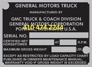 Gmc Oem Truck Pu Data Plate Serial Number Id Tag Vin Stamping Available