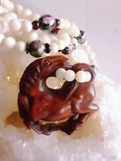 Chinese Box Wood Netsuke Jumping Horse Cloisonne Mother Of Pearl 28 Necklace