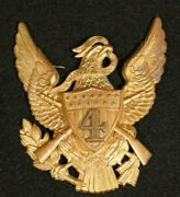 U.s. Army M1881 Pith Helmet 4th Infantry Regiment Front Plate Emblem Device Vf+