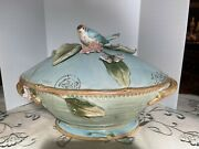 Fitz And Floyd Toulouse Footed Tureen And Ladle Applied Bird, Flowers, Leaves