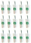 Starbucks 15 Pack Reusable Frosted 24 Oz Cold Cup With Lid And Green Straw