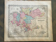 3-antique Hand Colored Original Maps Of Germany 1st Edition Colton Atlas 1855