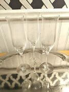 Three Vintage Orrefors 9 1/4 Tall Ribbed Crystal Champagne Flutes