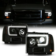 Bright Led Low Beam Black Oled Tube Projector Headlight For 05-07 Ford F250 F350