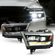 Black Clear Sequential Tube For 19-21 Ram 1500 Built-in Led Projector Headlight