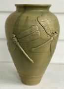 Vintage Art Pottery Ceramic Vase Dragonfly Relief Double Green Glaze 10andrdquo