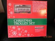 Mth Railking O-scale R-t-r Christmas Trolley Set W/lighted Track End Bumpers