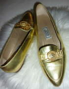 Gianni Versace Holiday Gold Leather Medusa Flats Loafers Sz 38/8
