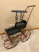 Nice Antique 19th C Victorian Doll Carriage Buggy Stenciled, Wooden Wheels