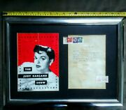 Judy Garland Personally Signed Programme + Letter From 1962 Framed