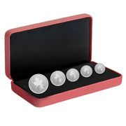 2022 And039a Radiant Crownand039 Fractional Set Of 5 Silver Maple Leaf Coins .9999 Fine