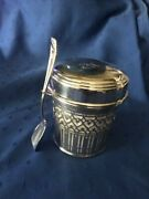 Sterling Cheese/honey/jam Jar With Liner And Spoon 4 3/4 Tall 4 Wide