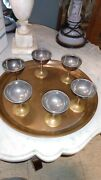 Joseph Heinrichs Copper Bronze Tray  Cordial Glasses Arts And Crafts Mixed Metal