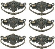 Drawer Pulls Metal Antique Style Cabinet Drawer Wood Pull Handle Bronze 6pcs