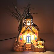Vintage Christmas Plastic Light Up Church With Nativity Scene In Front 9x12in