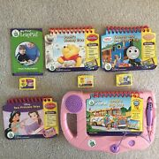 Leapfrog My First Leap Pad System Lot Pink Purple 4 Books 3 Cartridges Tested
