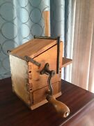 Antique Parmesan Cheese Grater Grinder Hand Crank Dovetail Wood Box Italy