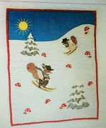 New Sold Out Mackenzie-childs Nutlin Manor Quilt Squirrels Ski Christmas Gift