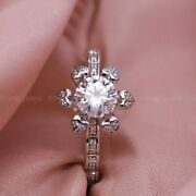 1.50 Ct Round Cut Genuine Moissanite Floral Engagement Ring Solid 14k White Gold