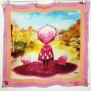 Travis 17 Pink Girl When Your Blood Corrupts You Broken Heart Silk Scarf Womenand039s