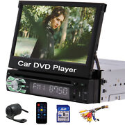 Single Din 7 Flip Stereo Car Radio Dvd Player Touch Screen Bt Usb Tf Aux Camera
