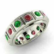 Christmas Sale 2.00 Ct Real Ruby Emerald Gemstone Band Solid 950 Platinum Ring 7