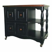 Sunset Trading Regal Farmhouse Wood Kitchen Cart In Antique Black/cherry