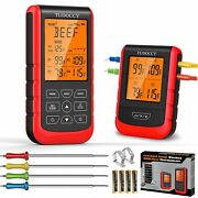 500ft Wireless Remote Meat Cooking Thermometer 4 Probes Backlit For Bbq Grilling