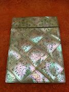 Antique Victorian Mother Of Pearl Calling Card Case