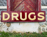 Antique Drugs Sign Tin Embossed Pharmacy General Store Advertising Druggist