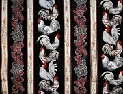 Valance Rooster French Country Cottage Paisley Stripe Script Black Red 42 X 14