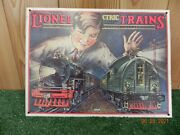 Metal Lionel Trains W/young Boy And Two Engines Old And Modern Wall Decor