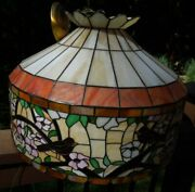Artist John Henry Miller Song Birds And Flowers Hanging Stained Glass Lamp Signed