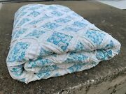 Vintage Mid Century Shabby Chic Antique Patch Quilt Baby Blue Distressed Blanket