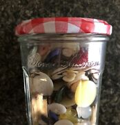 Lot Of Antique And Vintage Collectible Sewing Buttons In Bonne Maman Jar.