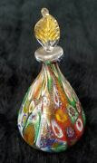 Vintage Murano Millefiore Perfume Bottle With Gold Leaf Stopper